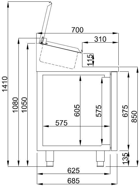 Combisteel SALADETTE 2 DEUREN 7x 1/3GN PAN CS-7489.5140