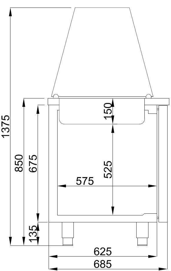 Combisteel SALADETTE 2 DEUREN 3x 1/1 GN PAN CS-7489.5150